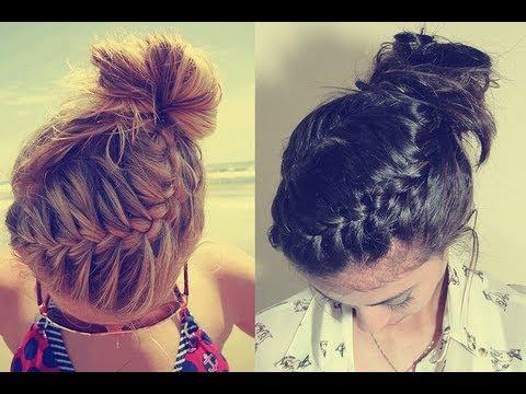 Braided Bun Updo Tutorial for long and medium hair | Qtiny.com