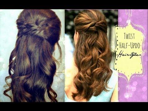 Hairstyles For Long Hair Dinner : CUTE HAIRSTYLES HAIR TUTORIAL WITH TWIST-CROSSED CURLY HALF-UP ...