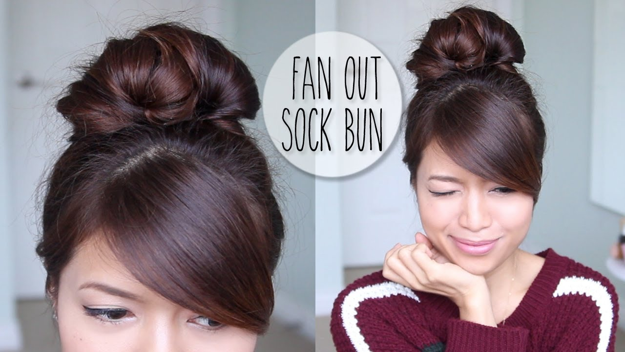 Everyday Fan Sock Bun Updo Hairstyle For Long Hair