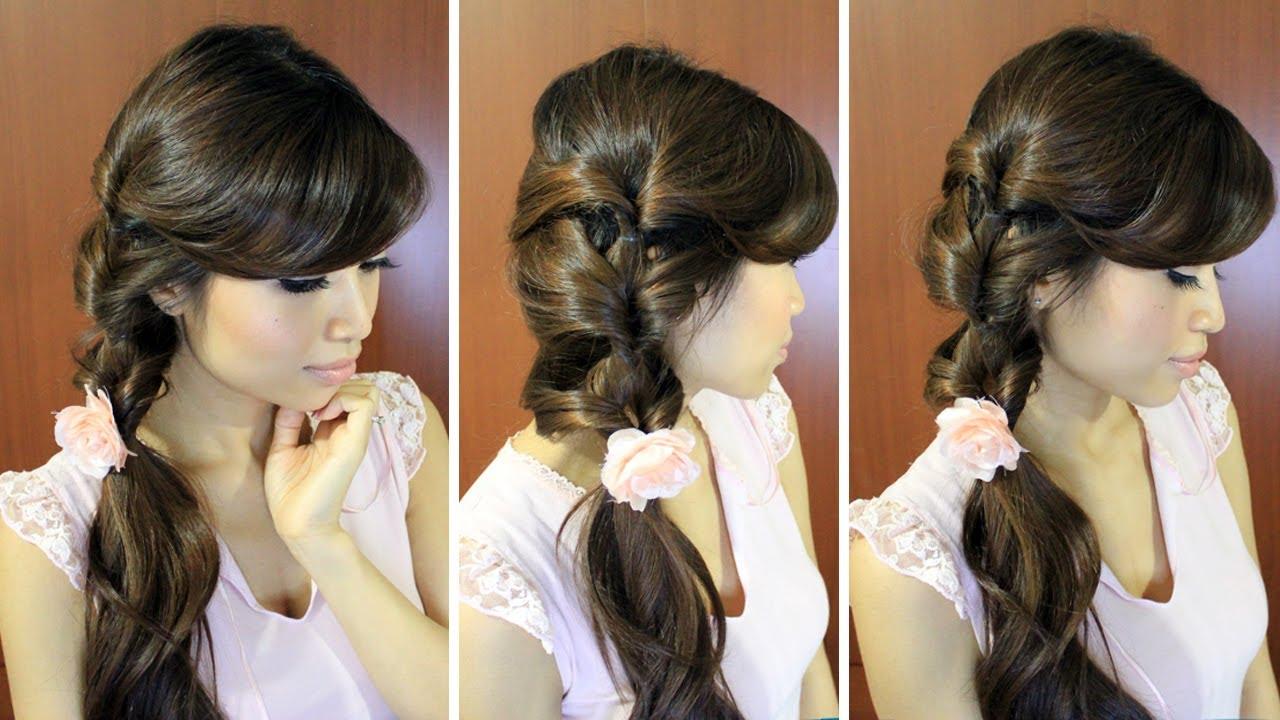 Everyday Fancy Loop Ponytail Hairstyle for Medium Long Hair Tutorial ...