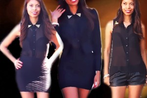 Fashion 2013 Spring/Summer | Gold & Black | Leather Shorts vs Bodycon Skirt | Sheer shirt