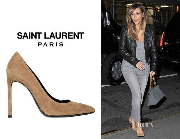 b6feaf067c0 Kim Kardashian's Saint Laurent 'Paris' Suede Pumps   Qtiny.com