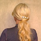 Easy ponytail hairstyle Long hair tutorial for everyday Romantic soft down do for events