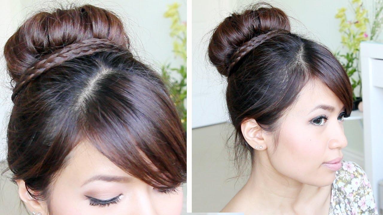 sock bun braid updo hairstyle for medium hair