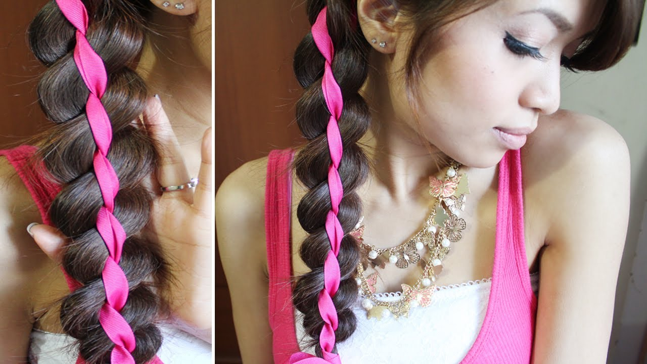4 Strand Ribbon Braid Headband Hairstyle for Medium Long