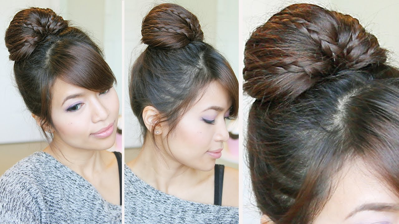 Cute Braided Bun Hairstyles For Short Hair : Braided fan bun updo hairstyle for medium long hair