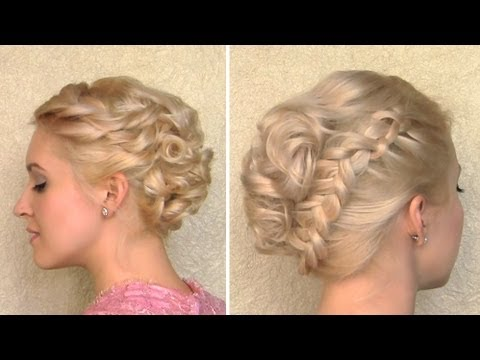 Curly wedding updo Prom hairstyle for medium long and short hair New