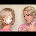 Easy New Year's eve hairstyle for medium hair Curly wedding updo for shoulder length hair