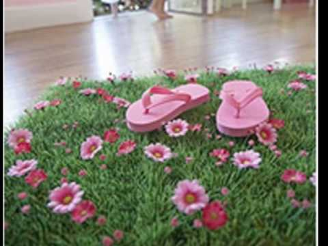 Grass Mat With Pink Daisy Flowers For Fairy Garden Party