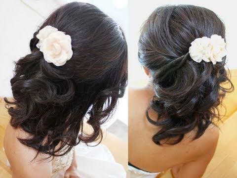 beautiful bridal half updo hairstyle for short medium long