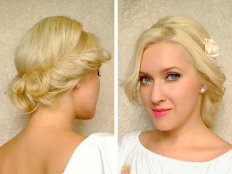hairstyles with side bangs and layers : Curly updo for medium long hair tutorial with headband Hairstyle for ...