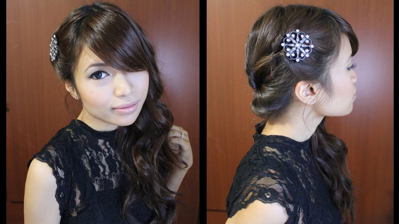 Looped Side Swept Prom Hairstyle For Medium Long
