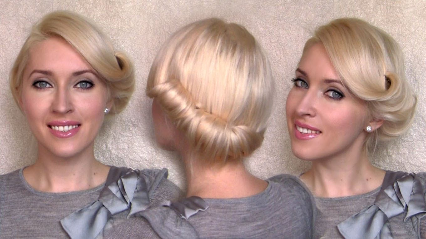 Vintage Hair Styles For Short Hair: Side Swept Rolled Updo Hairstyle For Medium Short Hair