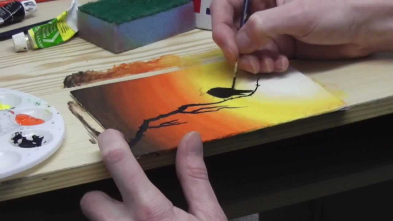 Beginners acrylic painting tutorial dawn bird for Canvas painting tutorial for beginners