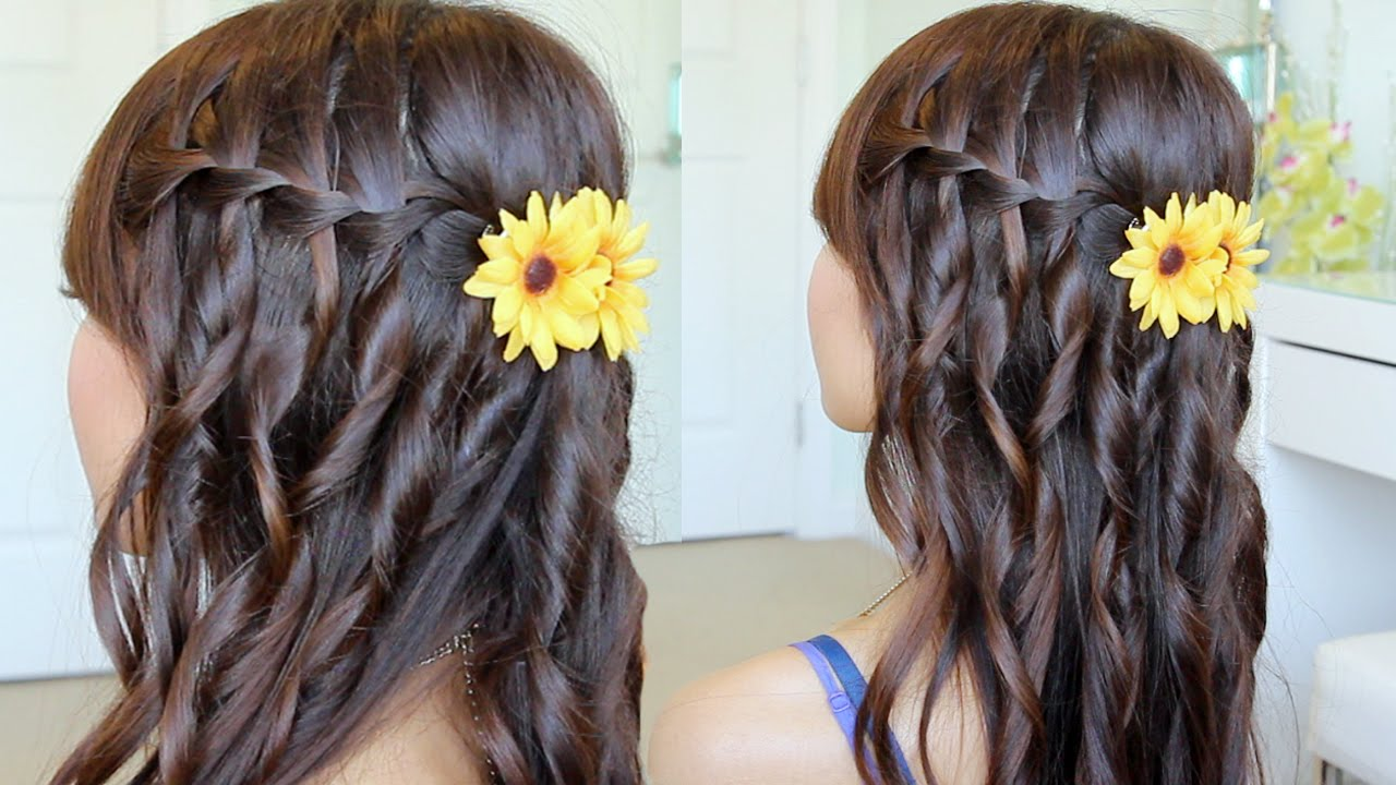Waterfall Braid Hairstyle On Yourself Hair Tutorial Qtiny.com