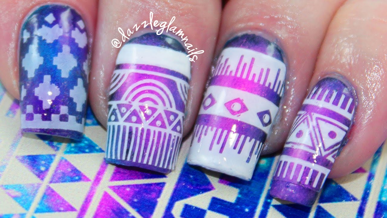 Aztec Galaxy Nail Art Tutorial Qtinycom