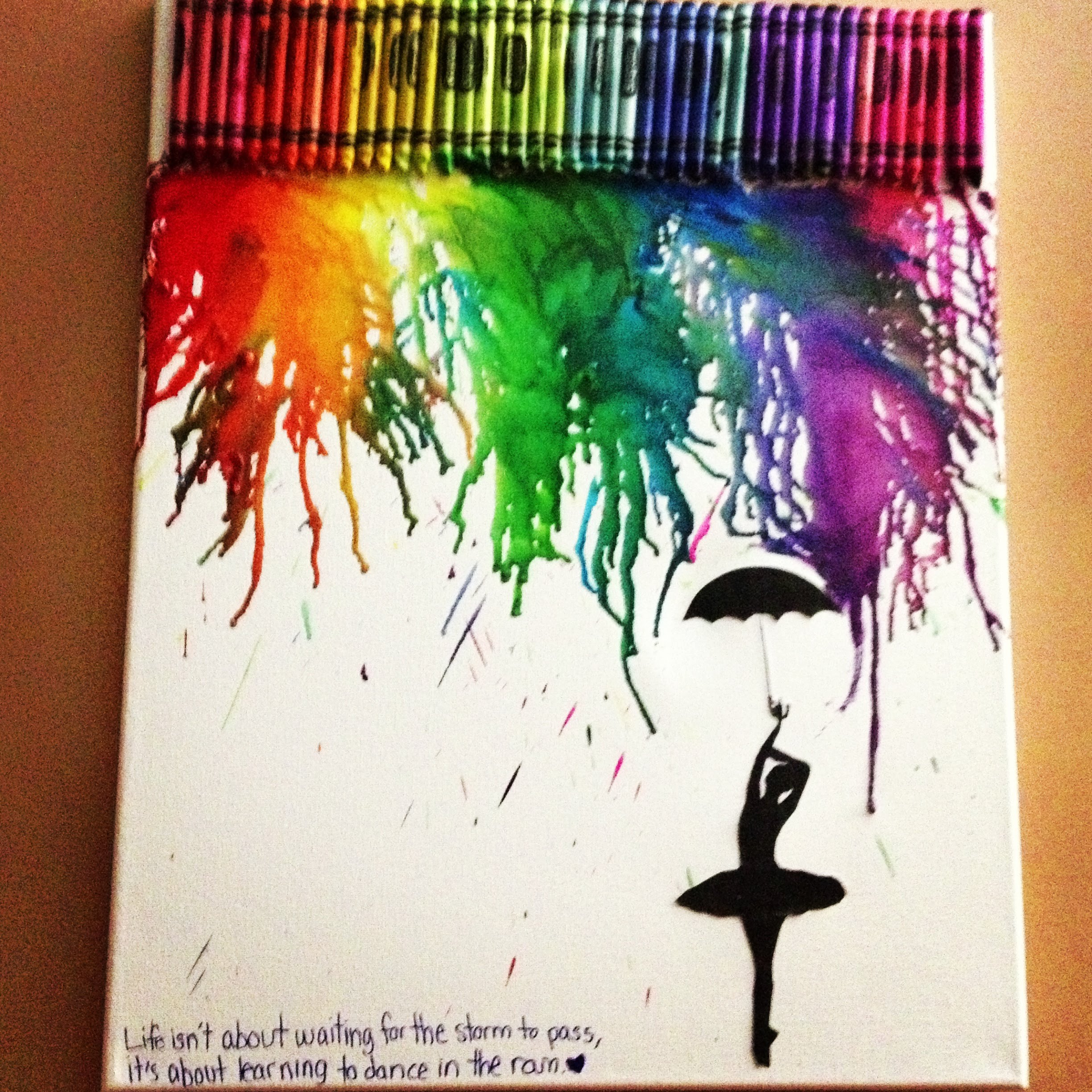 melted crayon art with silhouette
