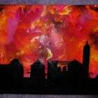 Sunset townscape – Crayon Art – Melting Crayons.