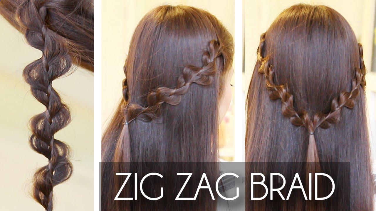 Zig Zag Braid Hair Tutorial Easy Hairstyles Qtiny.com