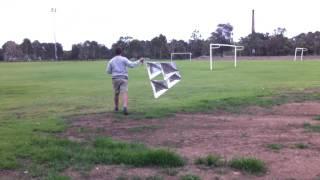 Tetrahedral kite, first flight
