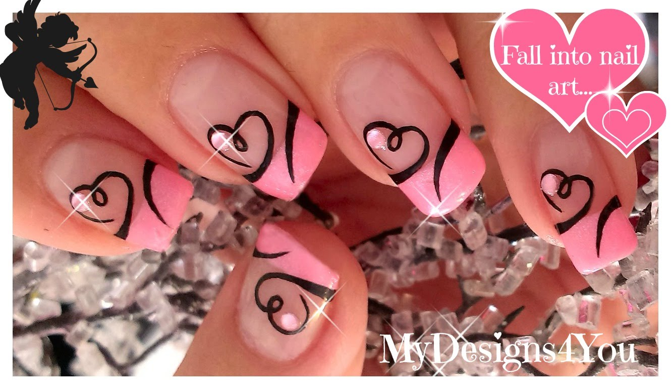 easy valentines day nail art cute heart french tip nails qtinycom - Nail Art Valentines Day