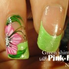 Green shimmery tips & Pink Flowers nail art